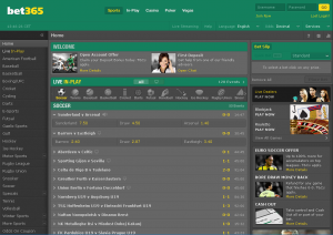 Screenshot fra Bet365